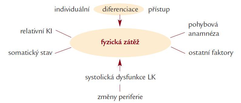 Schéma 2. Faktory limitující diferenciaci fyzické zátěže.