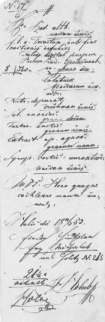 Lékařský recept Františka Holuba z období jeho působení v Holicích pro pana Michálka čp. 215