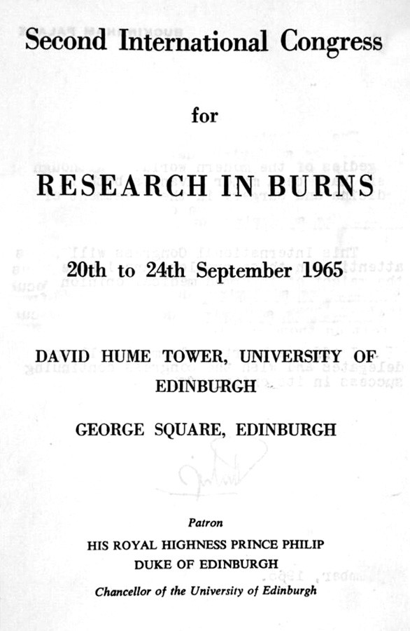 The Second International Congress for Research in Burns in Edinburgh in 1965, when the International Society for Burn Injuries (I.S.B.I.) was founded and A. B. Wallace was elected Secretary General