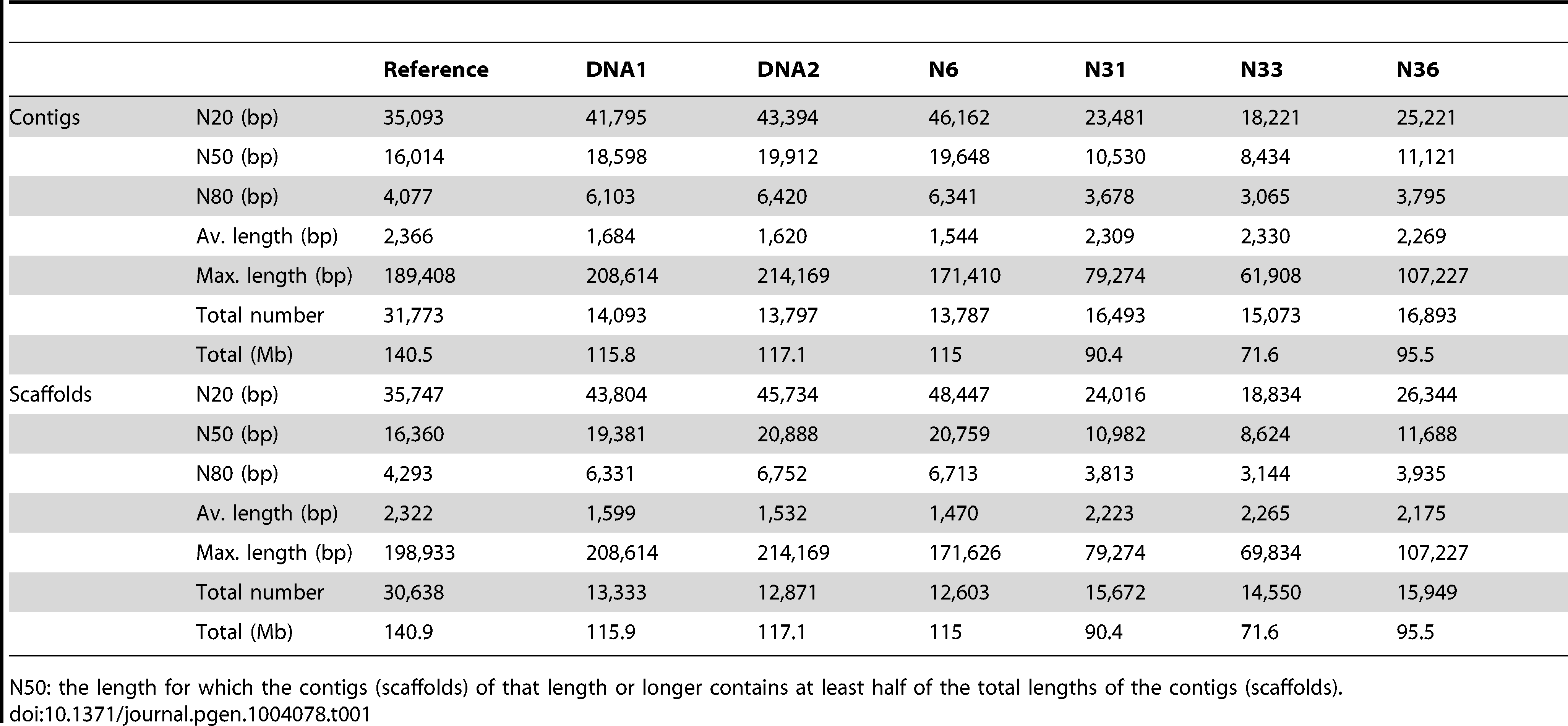 Characteristics of the seven genome assemblies from <i>R. irregularis</i> DAOM197198w.