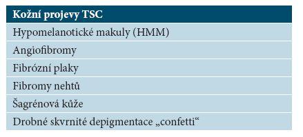 Přehled kožních projevů TSC