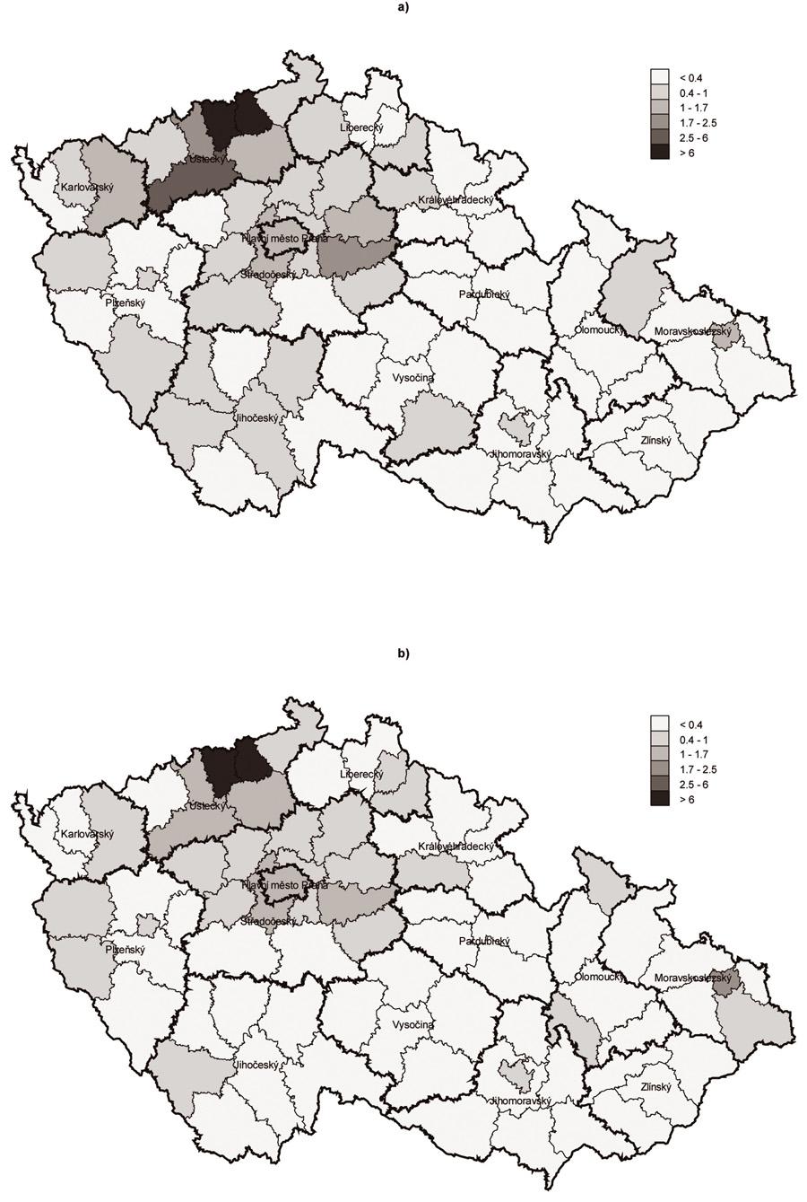 Odhad počtu problémových uživatelů opiátů/opioidů v ČR v letech 2006 (a) a 2007 (b) podle okresů Fig. 2 PUO estimates in the Czech Republic in 2006 (a) and 2007 (b) by district