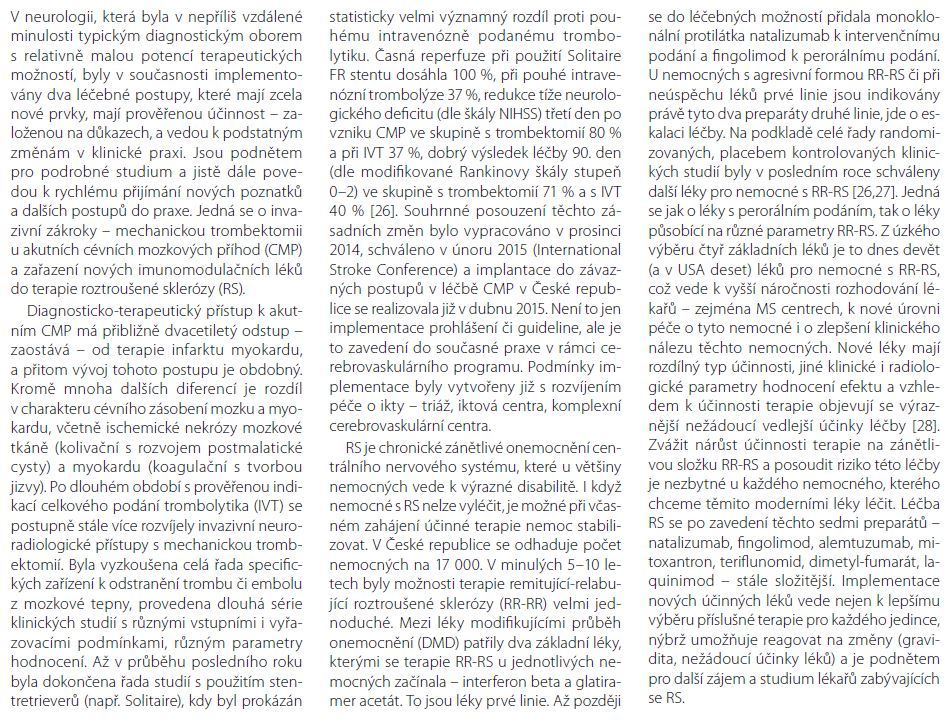 Příloha 1. Příklady úspěšné implementace z neurologické praxe.