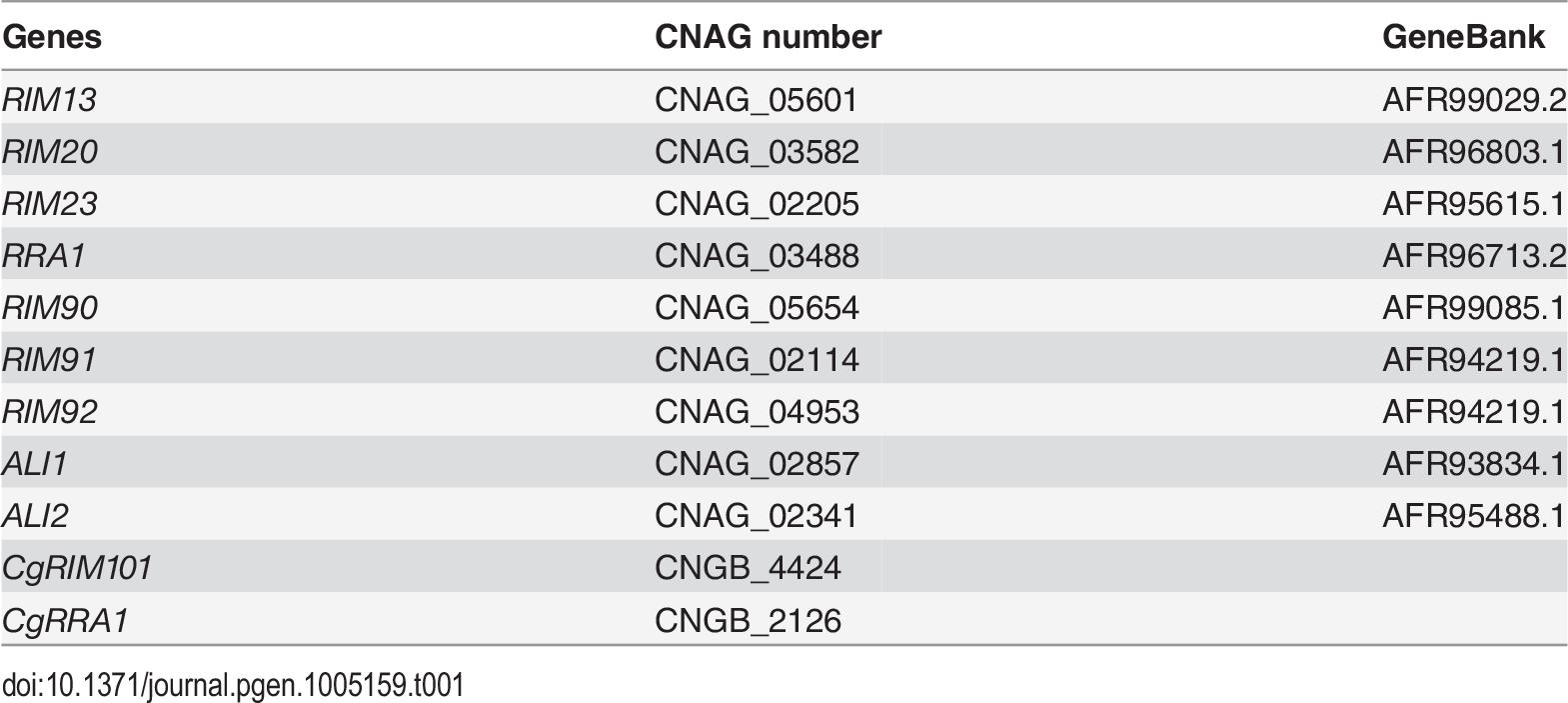Gene loci analyzed in this study.