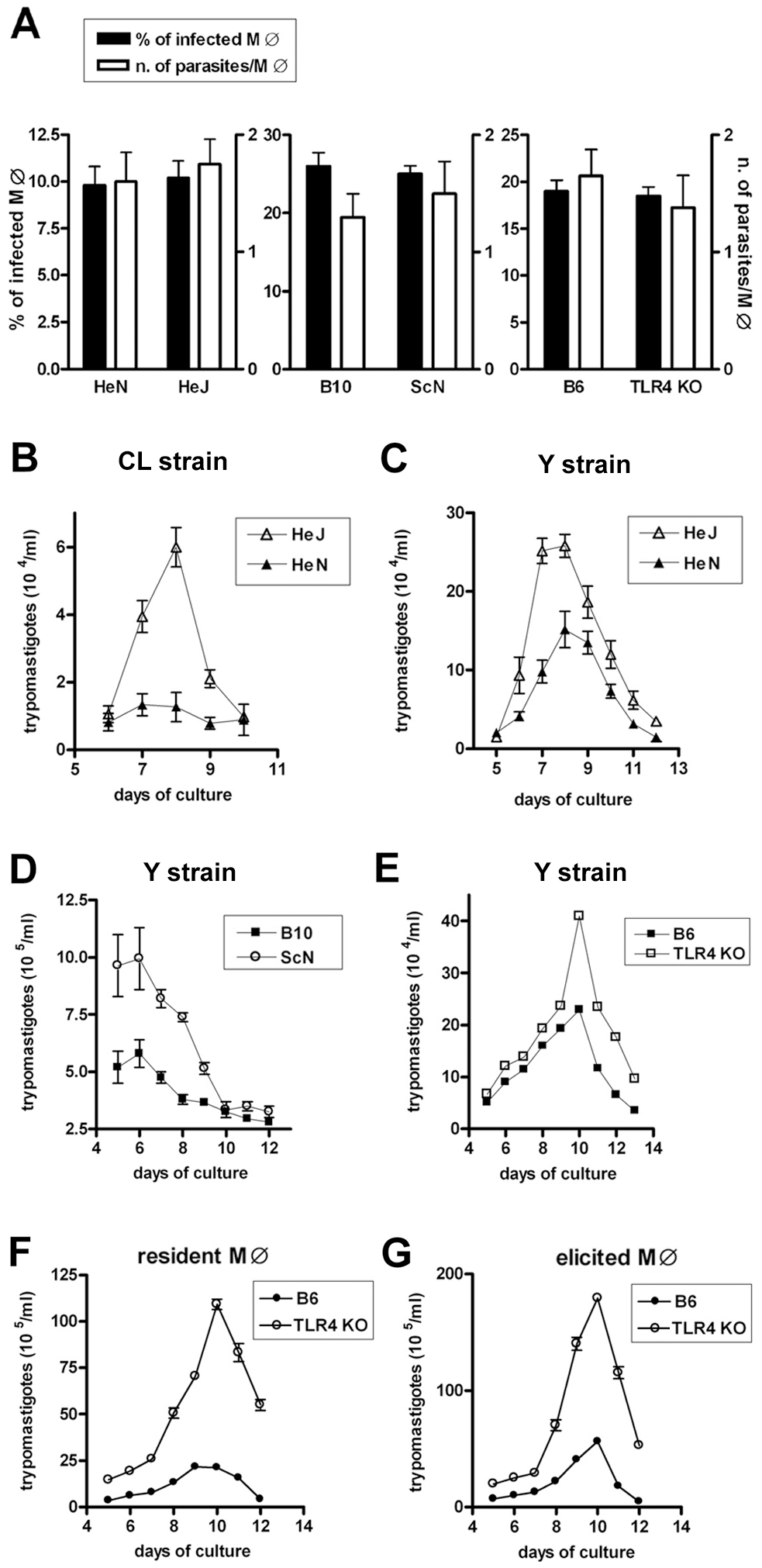 Equal invasion rate but increased growth of <i>T. cruzi</i> in TLR4-deficient macrophages.