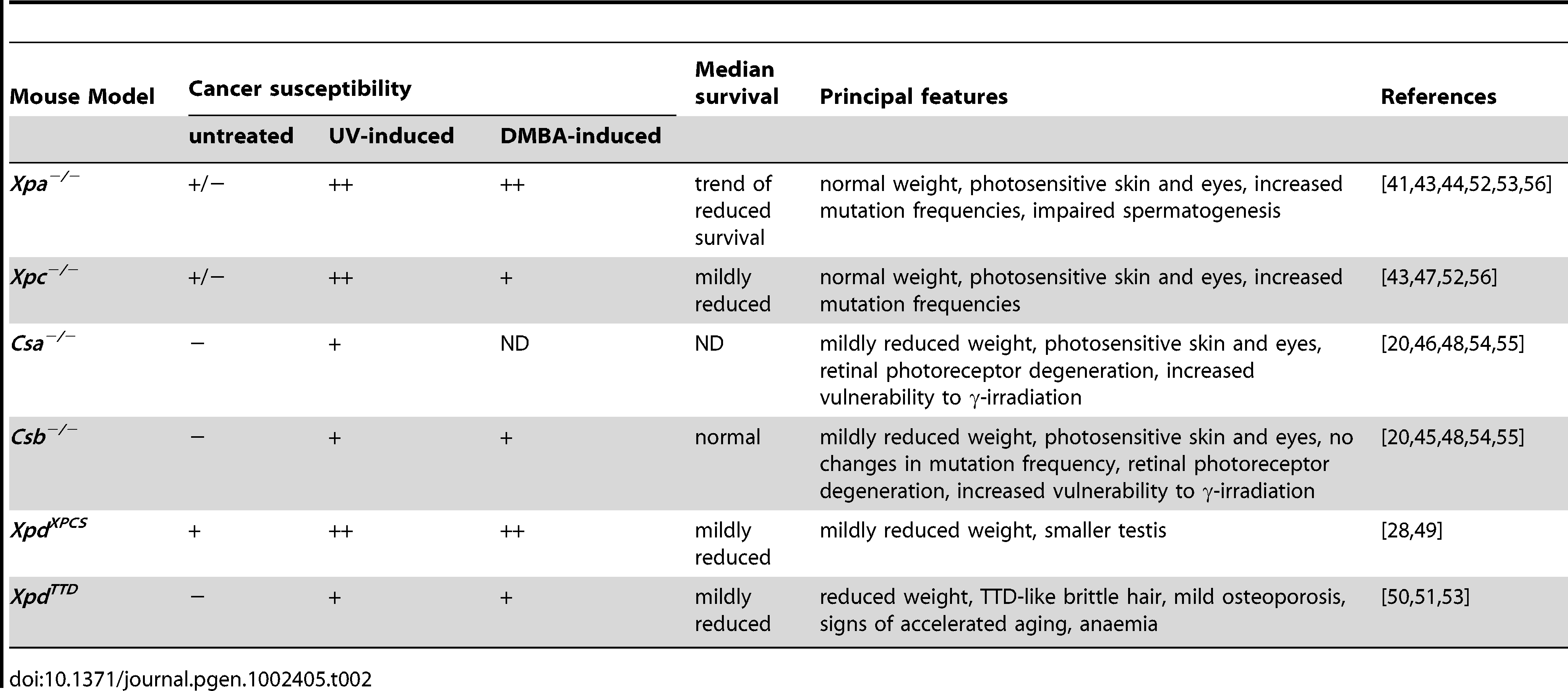Cancer susceptibility and principal features of NER–deficient mice.