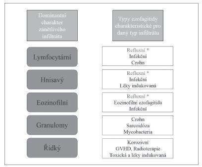 Vztah typu dominantního zánětlivého infiltrátu k hlavním typům ezofagitid.