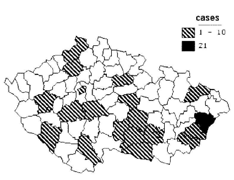Fig. 2. Districts with reported alimentary infection by tickborne encephalitis in 1997 - 2008