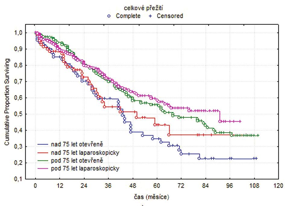 Kaplanovy-Meierovy křivky, celkové přežití Fig. 1. Kaplan-Meier curves, overall survival