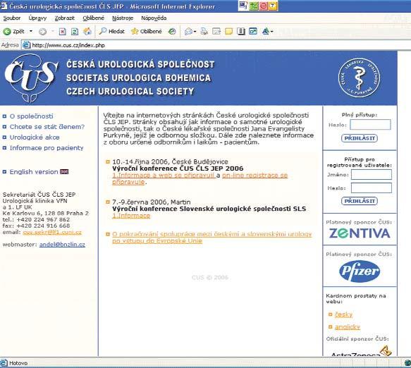Úvodní strana www.cus.cz je volně přístupná