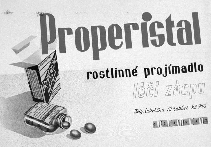 Leták fy Remed na tablety Properistal 1936, ČFM