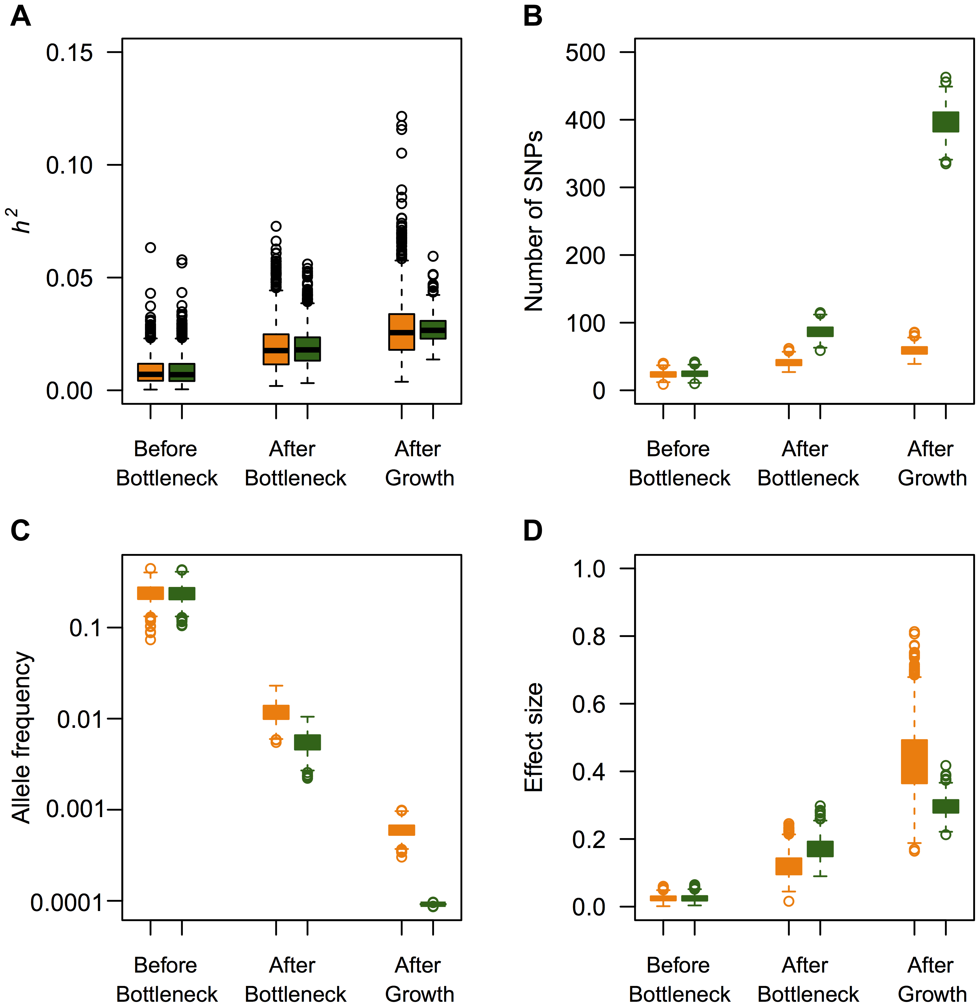 Effect of recent population growth on the heritability attributable to mutations of different ages when τ=0.5.