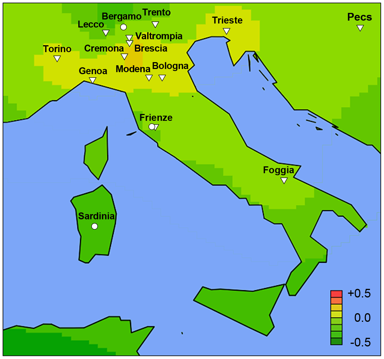 High-resolution geospatial risk analysis for Italy.
