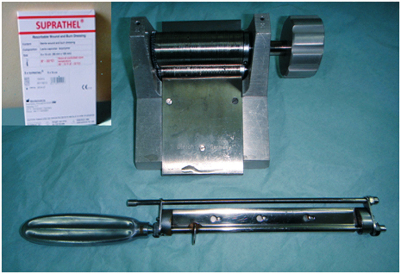 Pic. 2: Mesh graft tool, dermatome, Suprathel (Photo: B. Domres)