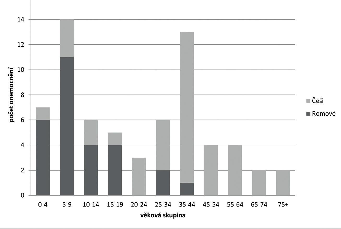 Počty případů VHA v Královéhradeckém kraji dle věku a etnika v roce 2014 Fig. 2. Number of imported viral hepatitis A in the Hradec Králové Region – by age and ethnicity in 2014