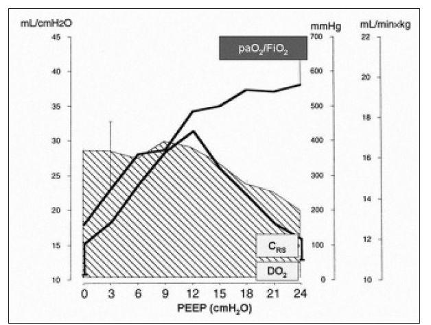 Grafický vzťah medzi oxygenačnou schopnosťou pľúc (paO<sub>2</sub>/FiO<sub>2</sub>), poddajnosťou respiračného systému (CRS) a systémovou dodávkou kyslíku (DO<sub>2</sub>). CRS – poddajnosť respiračného systému (ml/cm H<sub>2</sub>O), paO<sub>2</sub>/FiO<sub>2</sub> – pomer medzi parciálnym tlakom kyslíka v arteriálnej krvi a inspiračnou frakciou kyslíka (mm Hg), DO<sub>2</sub> – systémová dodávka kyslíka (šrafovaná plocha, ml/min × kg), PEEP – pozitívny tlak na konci výdychu (cm H<sub>2</sub>O).