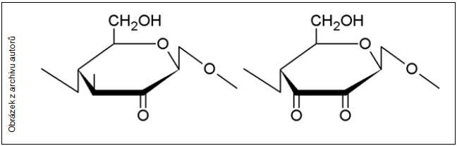 Vedlejší produkty oxidace celulózy – keto skupiny, které jsou významnou příčinou nestability oxidované celulózy ve fyziologickém prostředí