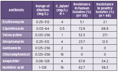 Table 1. The parameters of testing and resistance to the selected antibiotics in <i>C. jejuni</i>
