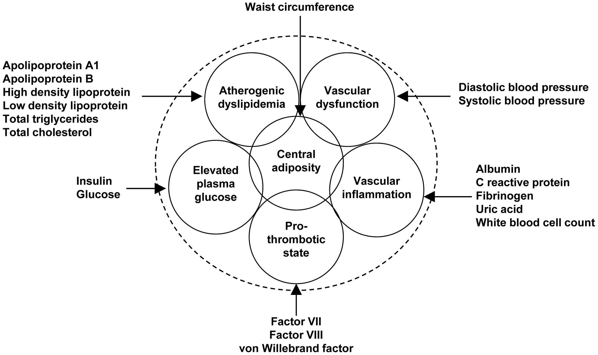 Variables used to characterize six metabolic syndrome domains.