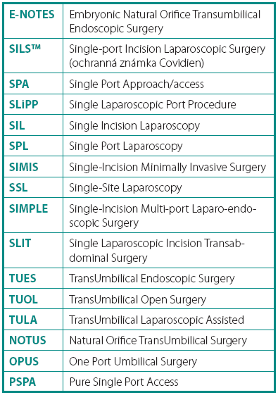 Synonyma jednoportové laparoskopie (laparoendoscopic single-site surgery, LESS) Table 1. Synonyms of laparoendoscopic single-site surgery (LESS)
