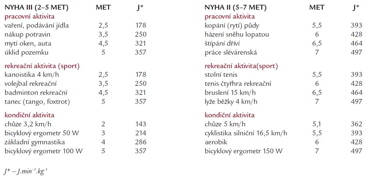 Druhy fyzické zátěže a jejich energetická náročnost skupin NYHA II a III (vybráno a upraveno podle [21–23]).