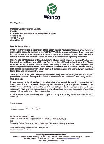 Děkovný dopis zaslaný prof. Michaelem Kiddem, nastupujícím prezidentem WONCA