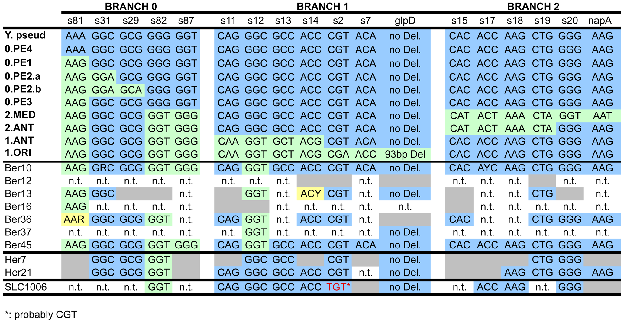Analysis of aDNA from human remains with 18 markers (<i>glpD</i>, <i>napA</i> and 16 SNPs <em class=&quot;ref&quot;>[<b>11</b>]</em>) that define the three main branches of the <i>Y. pestis</i> evolutionary tree.
