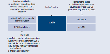 Schéma 15.3   Súčasné možnosti kombinačnej hypolipidemickej liečby