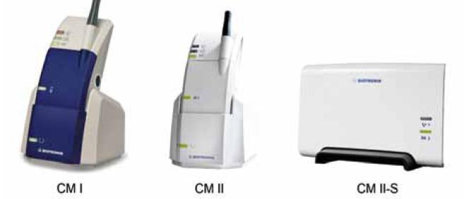 Modely pacientských jednotek systému Biotronik Home Monitoring (CardioMessengery). CM I a CM II jsou mobilní verze dostupné pro starší, resp. novější modely (viz tab. 1), CM II-S je stacionární verze.
