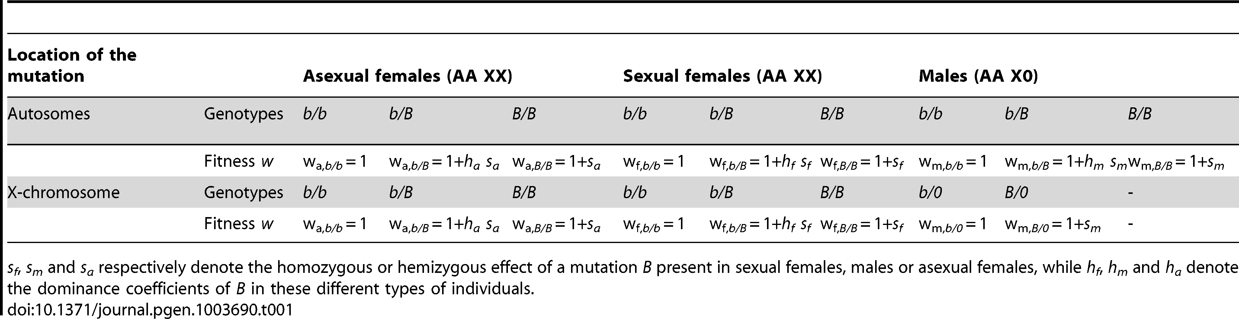 Model of the effects on fitness (<i>w</i>) of a mutation.