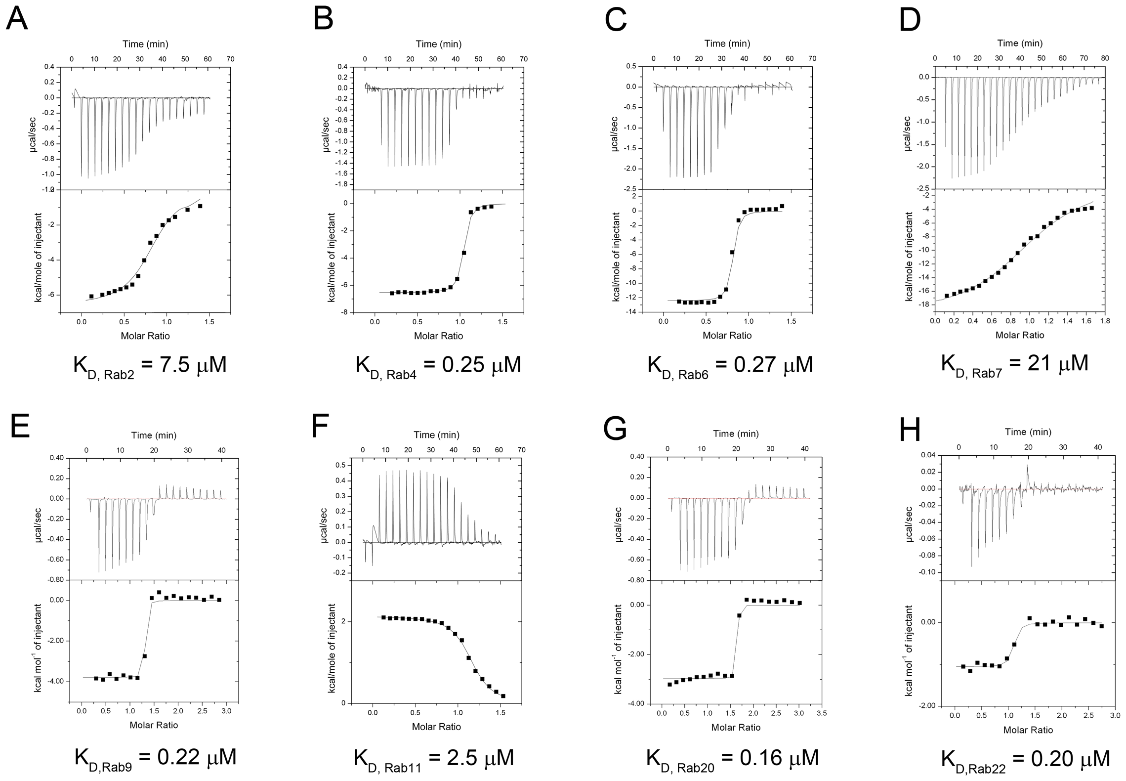 Measurement of binding affinity between LidA and 9 kinds of Rabs by ITC.