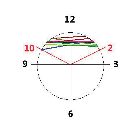 Znázornění lokalizace řezů skrz ligamentum cricothyroideum na prasečím modelu  Legenda: 12 – nejvíce ventrální část hrtanu/ligamenta, 6 – dorzální stěna hrtanu. Barevné čáry ve výseči 10-02 vyznačují lokalizaci jednotlivých řezů.