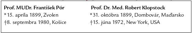 Základné životopisné údaje profesora Póra a profesora Klopstocka.