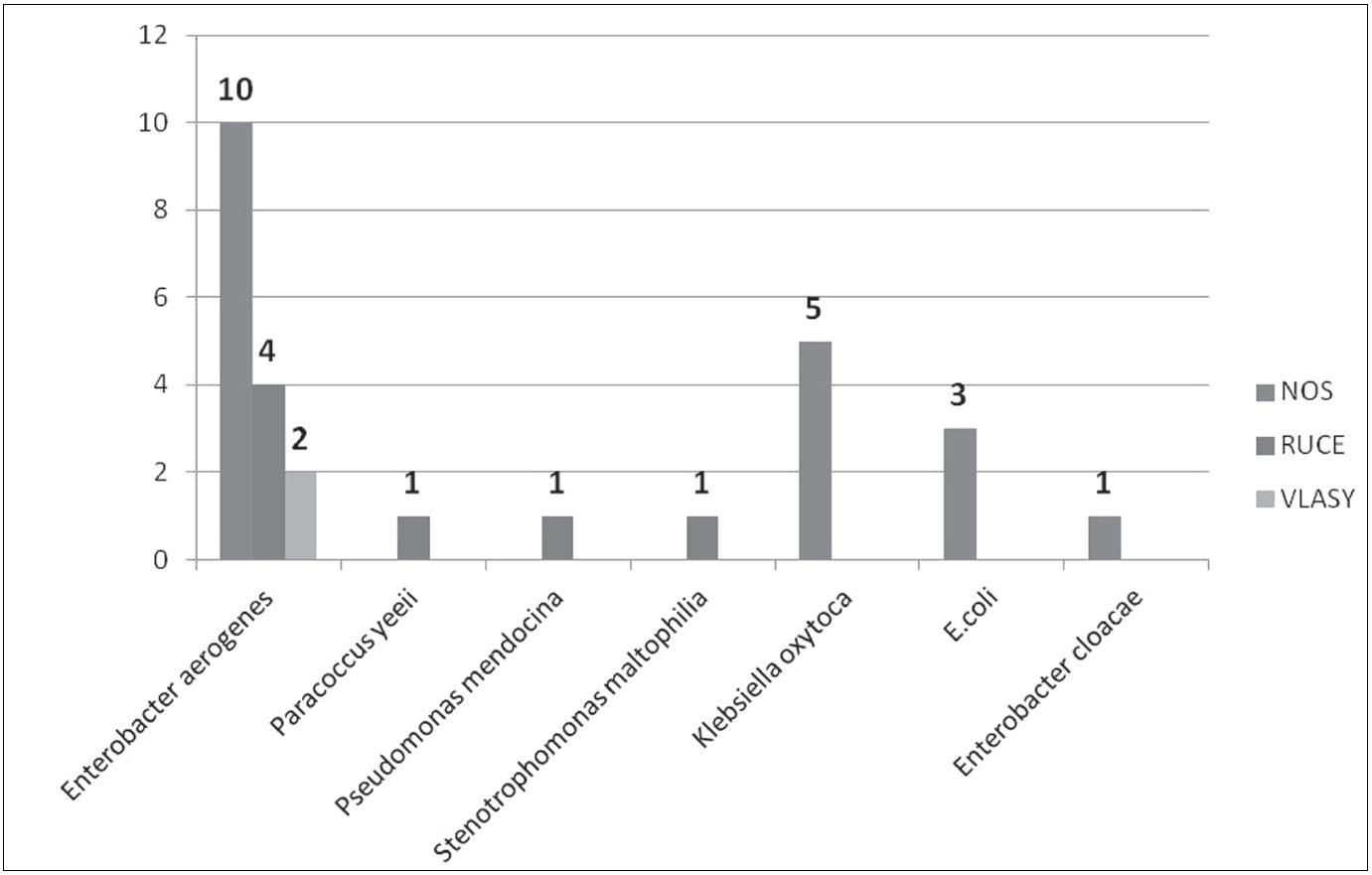 Gramnegativní bakterie izolované od ošetřujícího personálu Fig. 3. Gram-negative bacteria recovered from health care providers