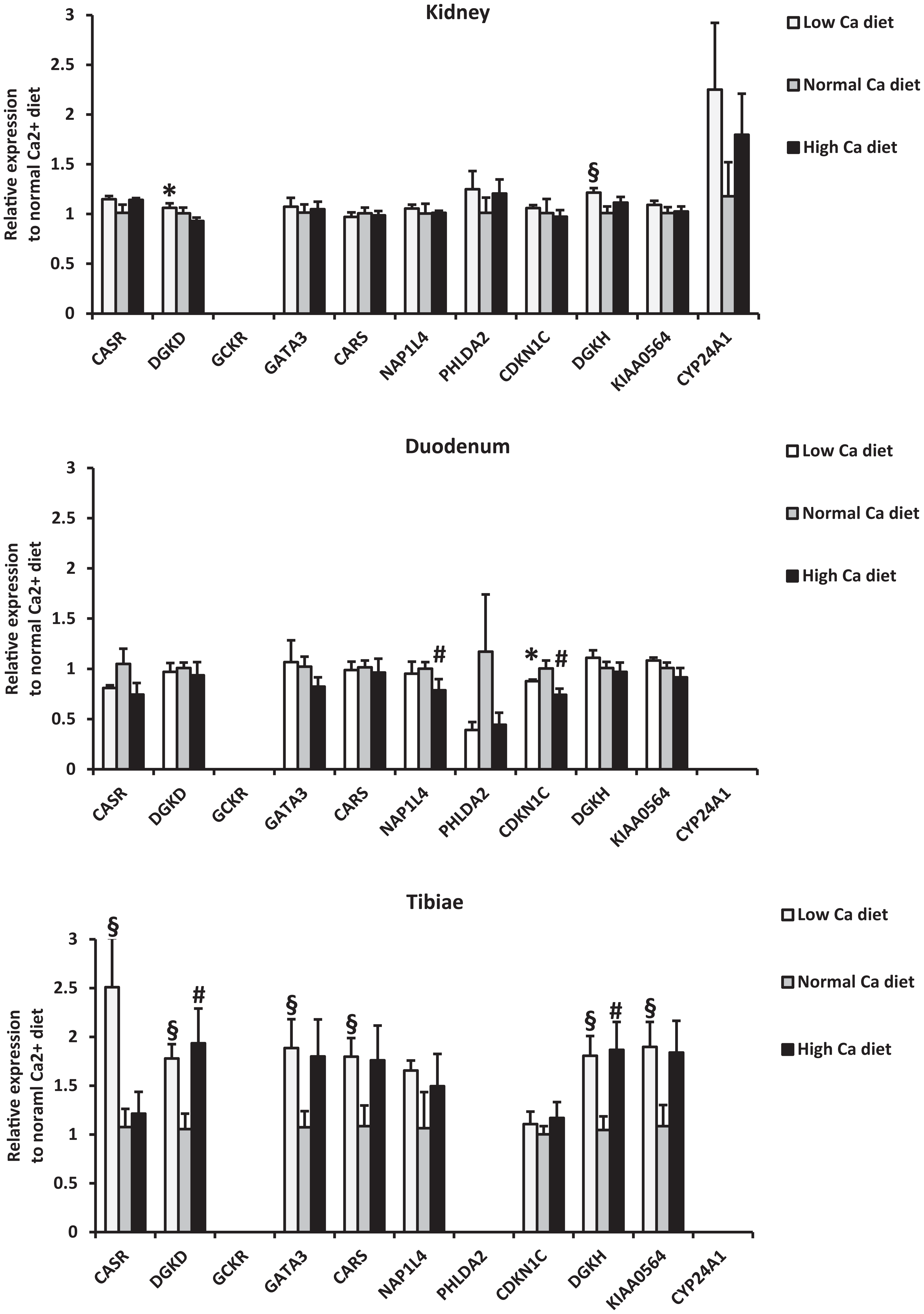 Relative mRNA expression of identified genes from mice fed a low (0.17%) and high (1.69%) calcium diet compared to mice fed a normal calcium diet (0.82%).