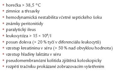 Příznaky svědčící pro těžký průběh CDI [9,10].