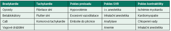 Příčiny hypotenze po úvodu do celkové anestezie