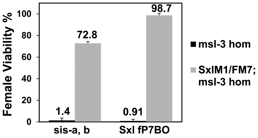 A constitutive <i>Sxl</i> allele rescues the female lethality from loss of <i>msl-3</i>. <i>y, cm, Sxl<sup>M1</sup></i>/FM7; <i>msl-3<sup>1</sup></i> females mated to <i>w, sis-b<sup>sc3-1</sup>, sis-a<sup>1</sup>, m</i>/Y or <i>y, w,</i> cm, <i>Sxl<sup>fP7B0</sup></i>/Y males (test class total n = 555, 851, 1065, 681 respectively).