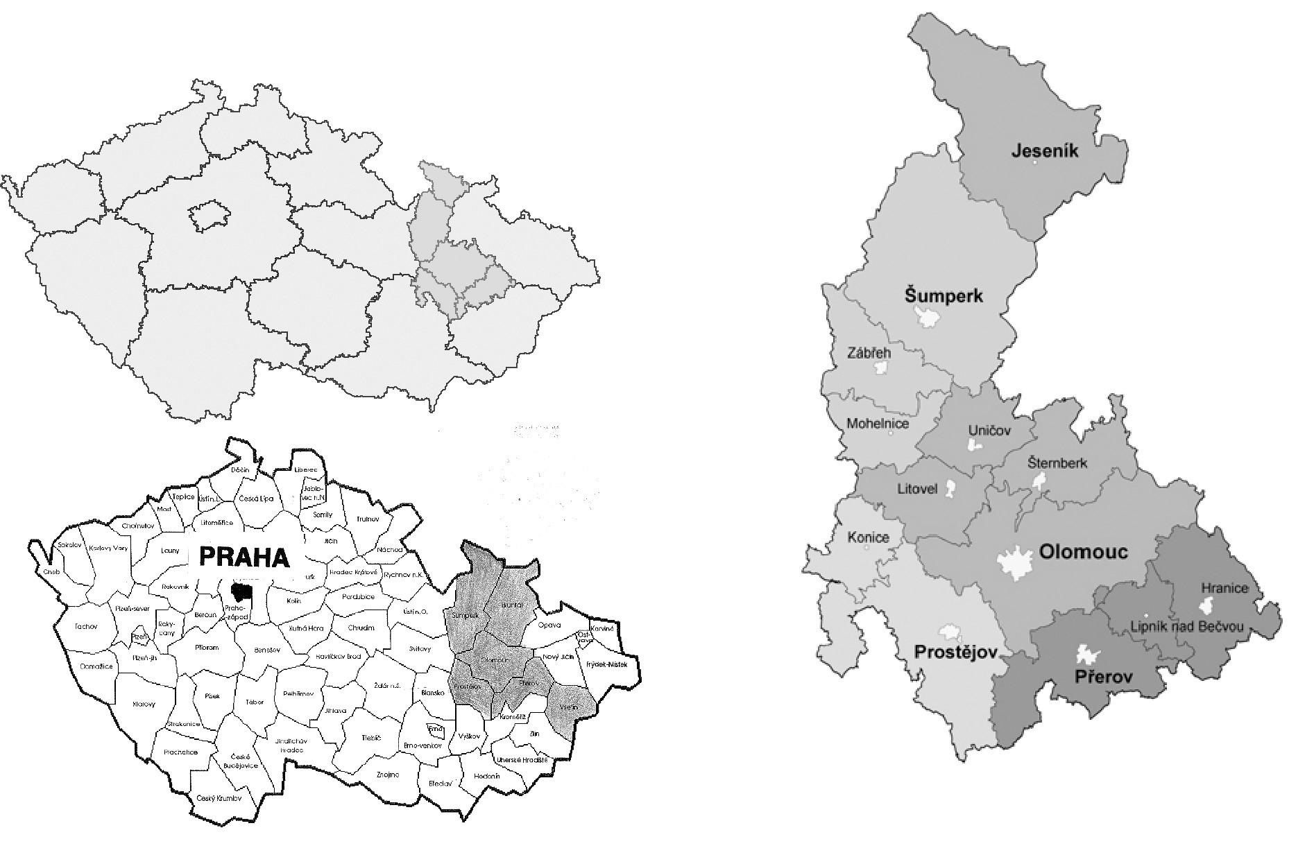 <b>(a-b)</b> Olomoucký kraj (ke 31.3.2009 bylo v Olomouckém kraji 641 883 obyvatel, v České republice jich ke stejnému datu bylo 10 476 543) [6, 7]; <b>(c)</b>: Olomoucký perinatologický region do r. 2000