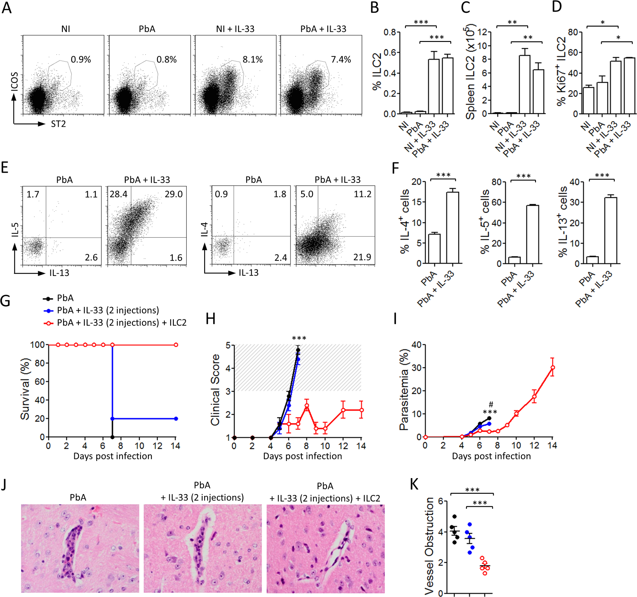 IL-33 expands ILC2 which adoptively protect mice against ECM.