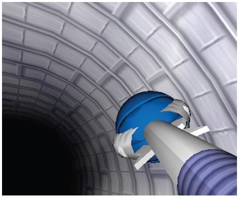 Výcvikový program EndoBasket Na počítačovém displeji se zobrazuje vinutý tunel s balonky a košíky. Úkolem výcviku je zachytit balonek endoskopickými klíšťkami a vložit ho do košíčku stejné barvy.
