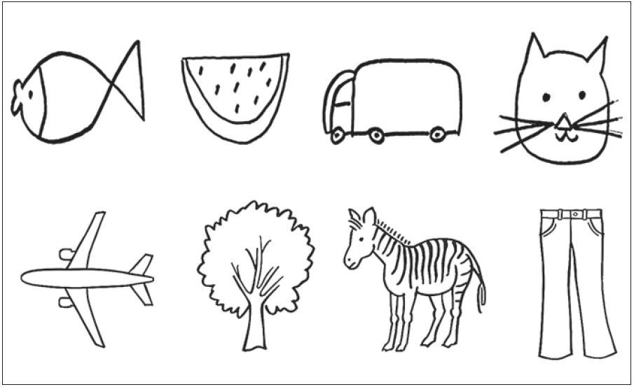 Příklady obrázků v první (první řádek) a poslední sadě (druhý řádek) demonstrují rozdíl v uchopení kresby objektů a jejich kvalitě (např. u zvířete původně jen hlava – nakonec celé zvíře nebo původní primitivní ztvárnění bylo nahrazeno jednotným kvalitním stylem).