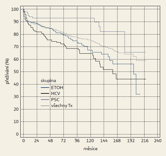 Kumulativní přežívání (dle Kaplan-Meiera) pacientů po TXJ. Graph 1. Cumulative survival (Kaplan-Meier) of patients after OLTx.
