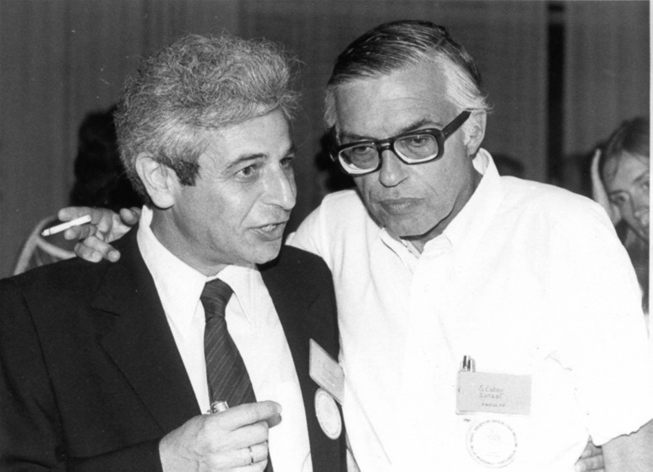Fig. 1 Prof Simon Bursztein (left) with Prof Shamai Kotev, the founders of the Israel Society of Critical Care Medicine in the late 70´.