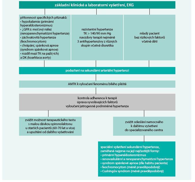 Schéma. Návrh postupu na vyšetřování sekundární arteriální hypertenze