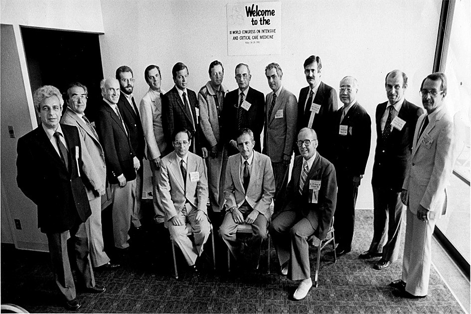 Fig. 2 Prof Simon Bursztein (extreme left) with the other members of the World federation of intensive care medicine