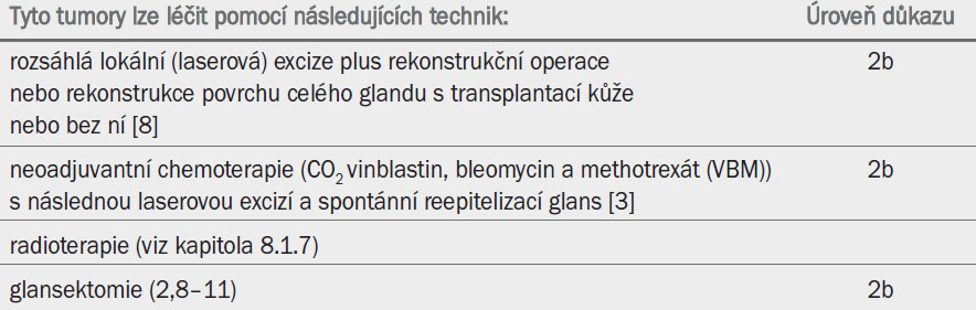 Tumory T1b glans penisu s hlubší infiltrací (> 1 mm).