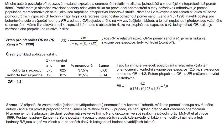 Příklad 2. Výpočet relativního rizika (RR) z poměru šancí (OR).