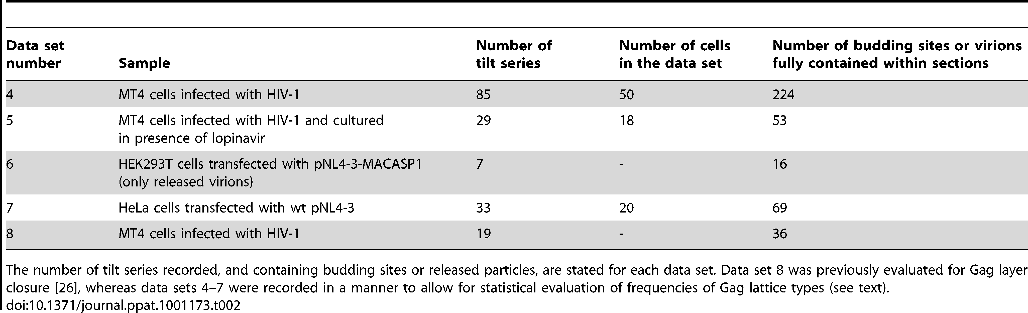 Data sets of resin embedded samples evaluated in the classification of Gag layer types.