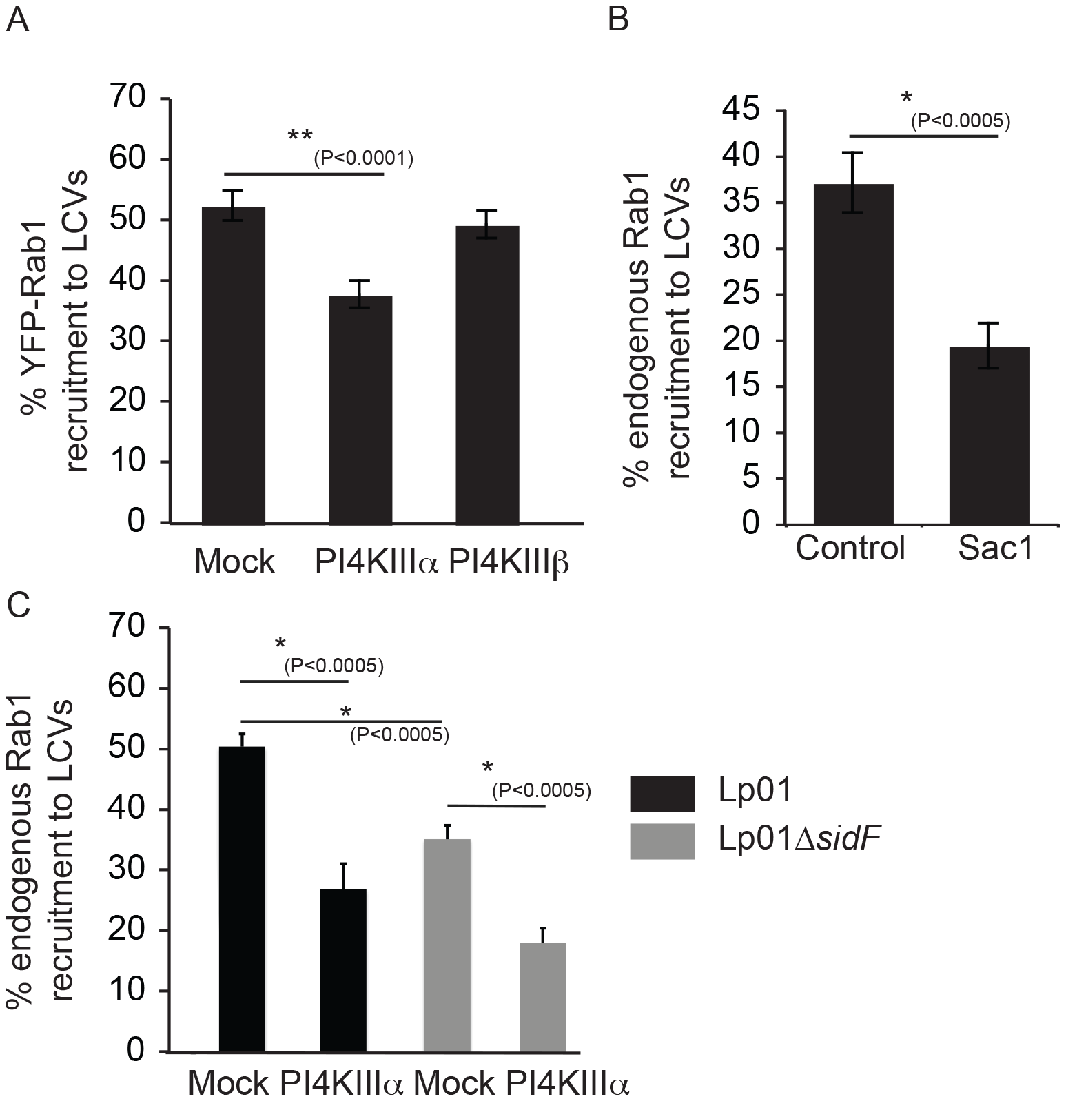 The host kinase PI4KIIIα is important for generation of a pool of PI4P used for DrrA targeting during infection.